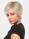 10 Inch Gray-Brown Mixed Color Short Straight Hair Temperament Oblique Bangs Wigs - 10 Inch