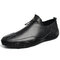 Men Genuine Leather Non Slip Elastic Lace Casual Driving Shoes - Black