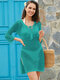 Women Knit Hollow Out Bandage Neck Side Split Cover Up Swimsuit - Green