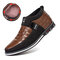 Men Classic Business Casual Slip On Leather Business Casual Ankle Boots - Brown(Plush Lining)