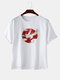 Mens Birds Printed Chest Pocket Loose Short Sleeve T-Shirts - White