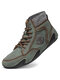 Menico Men Leather Hand Stitching Slip Resistant Sock Ankle Boots - Green