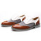 Men Brogue Color Blocking Oxfords Lace Up Formal Party Shoes - Brown