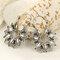Vintage Geometric Metal Hollow Flower Big Earring Ethnic Water Drop Hollow Sunflower Stud Earrings - Silver
