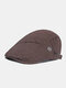 Men Cotton Solid Color Stitching Metal label Casual Beret Flat Cap - Coffee