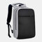 Men Polyester 15.6 Inch USB Charging Waterproof Business Laptop Bag Backpack - Grey