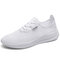 Men Pure Color Mesh Fabric Breathable Casual Sport Sneakers - White