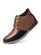 Men Microfiber Leather Rivet Lace Up Business Casual Ankle Boots - Brown