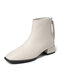 Women British Style Squared Toe Leather Back Zipper Chunky Heel Shorts Boots - Beige