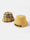 Unisex Double-side Cotton Embroidery Letter Pattern Fashion Sunshade Bucket Hat - Yellow