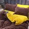 AB Side Wheat Cashmere Thickening Crystal Velvet Bedding Sets Queen King Size Quilt Cover Bed - Coffee