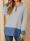 Striped Print Patchwork Buttons Side Slit O-neck Cotton Blouse for Women - Black