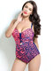 Plus Size Slim Swimsuits Print Push Up Front Tie Patchwork One Piece With Padding