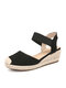 Women Casual Solid Lint Fabric Closed Toe Espadrille Wedges Sandals - Black