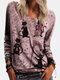 Cat Print Long Sleeve Casual T-Shirt For Women - Red