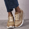 Large Size Women Round Toe Hollow Breathable Lace Up Wedges Sneakers - Gold