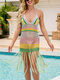 Donne Colorful Weave Hollow Out Nappa Sexy Dress Halter Cover Up - viola
