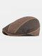 Men Felt Ear Protection Keep Warm Contrast Color Casual Forward Hat Beret Hat Flat Cap - Coffee