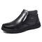 Menico Large Size Men Hand Stitching Leather Plush Lining Non-slip Casual Boots - Black