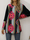 Striped Print Patchwork O-neck Long Sleeve Plus Size Blouse for Women - Pink