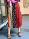 Ethnic Pattern Print Drawstring Waist Vintage Front Pocket Skirts - #05