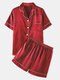 Plus Size Women Faux Silk Pajamas Set Solid Smooth Breathable Lapel Collar Loungewear With Short Sleeve Top - Wine Red