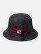 Women Woolen Cloth Solid Bowknot Decoration Outdoor Warmth Breathable Bucket Hat - Dark Gray