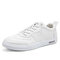 Men Leather Lace-up Casual Waterproof Shoes - White