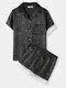 Women Flower Print Lace Trim Revere Collar Short Sleeve Home Pajama Sets - Black