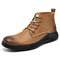 Men Cow Leather Round Toe Waterproof Non Slip Tooling Boots - Brown