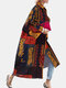 Ethnic Print Bell Sleeves Loose Casual Coat For Women - Yellow