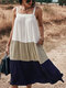 Contrast Color Sleeveless Backless Pocket Loose Casual Dress For Women - Navy