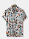 Mens All Over Splodge Watercolor Print Button Up Short Sleeve Shirts - Gray