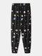 Universe Planet Pattern Jogger Printing Loungewear Pant For Men - Black