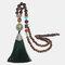 Vintage Buddha Wood Beads Long Necklace Ethnic Geometric Tassel Pendant Sweater Chain - 05