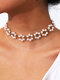 Trendy Pearl Flowers Necklace Temperament Alloy Hollow Clavicle Chain - Necklace
