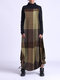 Contrast Color Plaid Print Patchwork Long Sleeve Maxi Dress For Women - Yellow