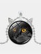 Vintage Stereoscopic Black Cat Face Printed Women Necklace Cat Ear Pendant Necklace - Silver