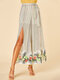 Floral Striped Print Waistband Slit Loose Long Casual Pants for Women - White