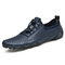 Men Genuine Leather Non Slip Soft Sole Casual Driving Shoes - Blue