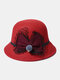 Women Woolen Cloth Solid Bowknot Decoration Outdoor Warmth Breathable Bucket Hat - Red