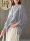ヴィンテージチェック柄長袖プラスサイズポケット付きだぶだぶブラウス - グレー