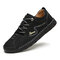 Men Rubber Toe Hand Stitching Microfiber Leather Casual Shoes - Black