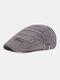 पुरुषों धारीदार पैटर्न ठोस रंग आकस्मिक फैशन Sunvisor फ्लैट टोपी आगे टोपी टोपी टोपी - धूसर