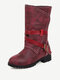 Women Casual Stitching Buckle Side Zipper Low Heel Mid Calf Boots - Red
