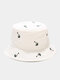 Unisex Cotton Solid Color Coconut Tree Pattern Embroidery Fashion Sun Protection Bucket Hat - White