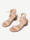 Women Fashion Comfy Ankle Strap Lace Up Chunky Heel Sandals - Apricot