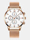 14 Colors  Alloy Mesh Band Men Business WatchDecorated Pointer Calendar Quartz Watch - Rose Gold Band White Dial Rose G