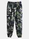 Мужские брюки-джоггеры из 100% хлопка в этническом стиле с тропическим принтом Растение Брюки - Зеленый