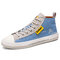 Men Washed Canvas High Top Lace Up Breathable Sneakers - Blue